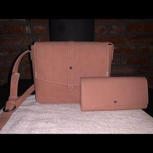 Blush pink large crossbody and matching wallet.
